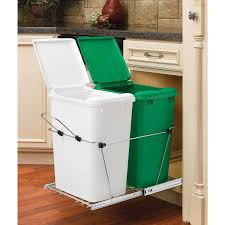 Kitchen Cabinet Garbage Drawer Cabinets Storages White And Green Pull Out Trash Bin Country