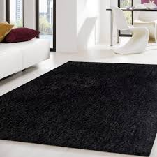 2-Piece Set | Solid Black Thick Plush Shag Area Rug with Rug Pad
