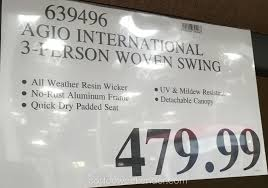 deal for the agio international 3 person woven patio swing at costco