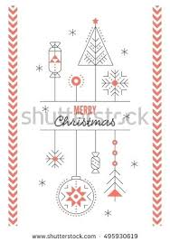 Business Christmas Card Template Merry Greeting Card Template With Stylized Decorations Thin Line
