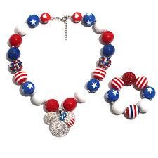 60 Design Baby Girl Pendant Chunky Bead Necklace Bracelet American Flag Unicorn Diamond Rose Skull Head Bow Bubblegum Toddler Party Jewelry Infant