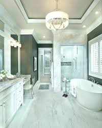 bath chandelier gray with transitional bathroom and chandelier drum chandelier freestanding bath marble gray ac bathroom