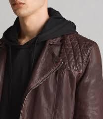 mens conroy leather biker jacket oxblood red image 7