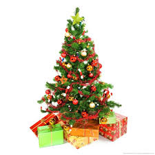 Christmas Tree with presents underneath on a white background for iPad