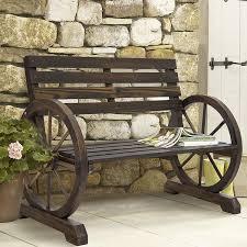 com best choice products patio garden wooden wagon wheel bench rustic wood design outdoor furniture garden outdoor