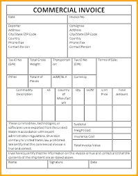 Blank Commercial Invoice Template Beadesigner Co