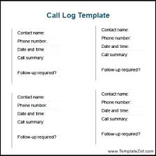Download Call Log Contact Template Word Bindext Co