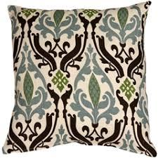 blue and green throw pillows. Linen Damask Print Blue Brown 16x16 Throw Pillow And Green Pillows W