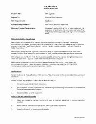 Cnc Machinist Resume Best Of Unique Machine Operator Resume Sample