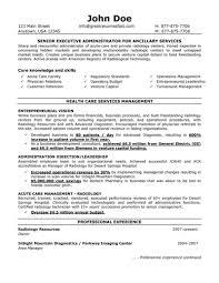 Senior Executive Administrator For Ancillary Services Resume