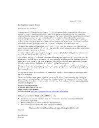 Incident Report Example Incident Letter Format Gallery Letter Format Example 14