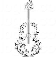 Royalty free clip art vector black and white floral guitar logo by