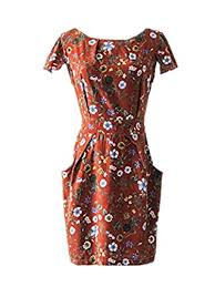 Fclm Womens Short Sleeve Slim Casual Party Dresses Plus Size Belt Above Knee Ed46