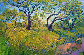 a modern post impressionism oil painting of texas hill country