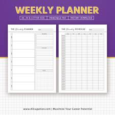 Printable Weekly Planner 2019 Weekly Schedule Weekly Organizer A5