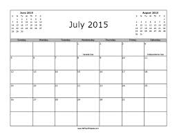 July 2015 Calendar With Holidays Free Printable