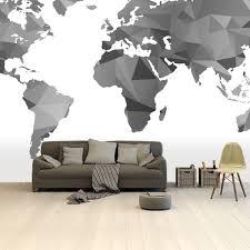Bolcom Wereldkaart Op Behang Zwart Grijs Wit Artistiek
