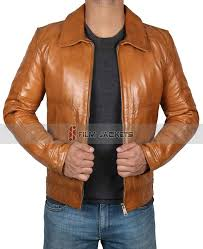 tan brown mens leather jacket