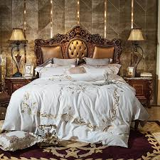 white luxury golden gorgeous embroidery egyptian cotton bedding set queen king size duvet cover bed linen bed sheet pillowcases queen size comforter luxury