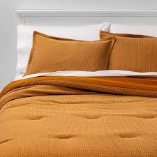 queen washed waffle weave comforter