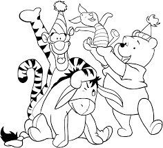 Disegno Di Winnie The Pooh E I Suoi Amici Che Festeggiano Da Colorare