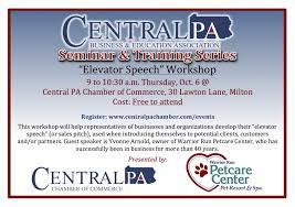 seminar training series elevator speech workshop central pa elevator speech workshop