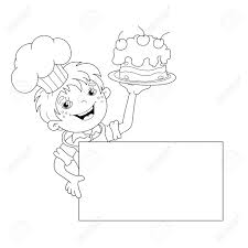 Small Picture Coloring Page Outline Of Cartoon Boy Chef With Cake Template