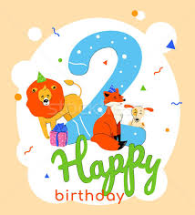 Children 2nd Birthday Greeting Card Vector Template Vector