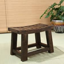 Japanese Antique Wooden Stool Bench Paulownia Wood Asian Traditional  Furniture Living Room Portable Small Low Antique Wooden Bench H92