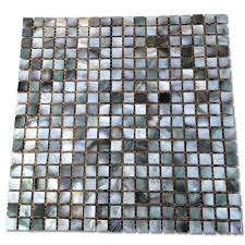 mother of pearl deep ocean gray 12 in x 12 in x 2 mm square pearl shell glass mosaic tile