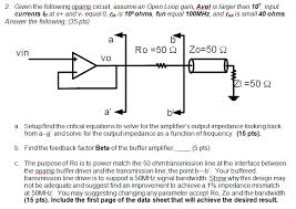 given the following opamp circuit assume an open loop gain avol is larger than