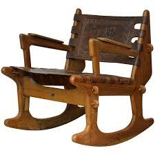 Rocking Chair Modern midcentury modern ecuadorian wood and leather rocking chair by 5371 by uwakikaiketsu.us