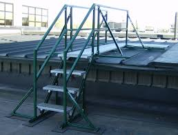 after a roof top walkway constructed using non skid grating with integrated stairs and handrail provides osha pliant safe access to a raised section of