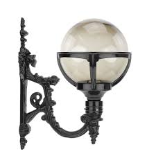 Outdoor Lamps Classic Rural Sphere Lamp Wall Smoke Glass