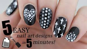 Art Designs Five In Five Easy Black White Nail Art Designs Nailed It Nz