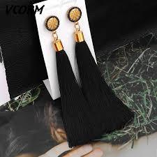 VCORM <b>Bohemian Tassel Crystal Long</b> Drop Earrings for Women ...