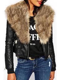 lady pu leather faux fur collar long sleeve jacket yellow 2xl