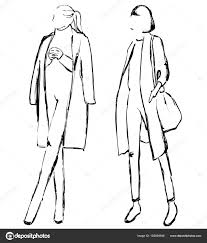 векторная графика с мода модели для проектирования девушки в пальто
