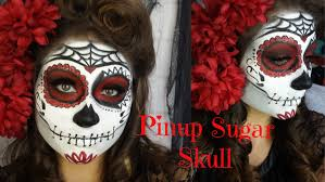 pinup red and black glitter sugar skull makeup tutorial and victory roll beautybyjosiek you