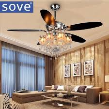 best sove 56inch chrome modern crystal chandelier fan lights living room decorate home fan remote control ventilador de techo 220v under 600 13 dhgate