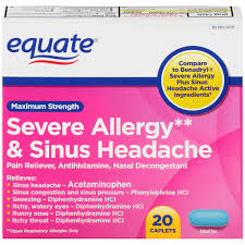 equate maximum strength severe allergy plus sinus headache caplets 20 count walmart
