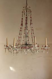 superb 1920s 30s six arm glass chandelier with amber glass drops