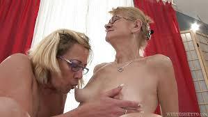 Older woman sucking tit