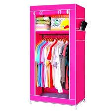 canvas closet single canvas wardrobe bedroom hanging storage furniture 2 shelves wardrobes rose red closetmaid canvas