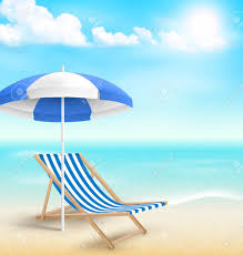 beach umbrella and chair. Delighful Beach Beach With Sun Beach Umbrella Chair And Clouds Summer Vacation  Background Stock Photo  To Umbrella And Chair