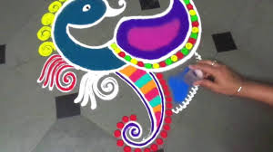 How To Make Beautiful Superbh Peacock Rangoli Design Youtube