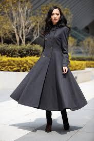 dark grey hooded maxi coat big sweep double ted hooded long wool coat winter coat long