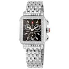 michele watches jomashop michele signature deco black dial diamond bezel stainless steel ladies watch