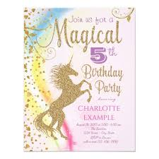 Birthday Party Invitation Unicorn Rainbow Magical Birthday Party Invitations Zazzle Com