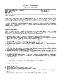 entry level firefighter resume